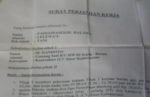 Surat kontrak para pekerja sawit (dok. sawit watch)