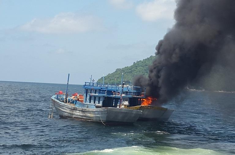 Kapal asing asal Vietnam ditenggelamkan pihak KKP (dok.kkp.go.id)