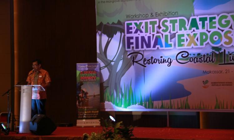 Country Director Oxfam Budi Kuncoro memberikan sambutan dalam acara penutupan program RCL (Irwan Firdaus/Oxfam)