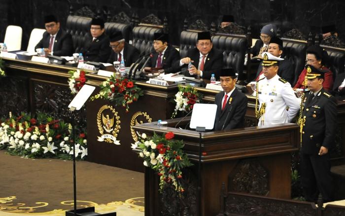 Presiden Joko Widodo menyampaikan laporan Nota Keuangan APBN 2016. Kucurkan dana desa Rp20,7 triliun Jokowi minta jangan diparkir di bank (dok. setkab.go.id)