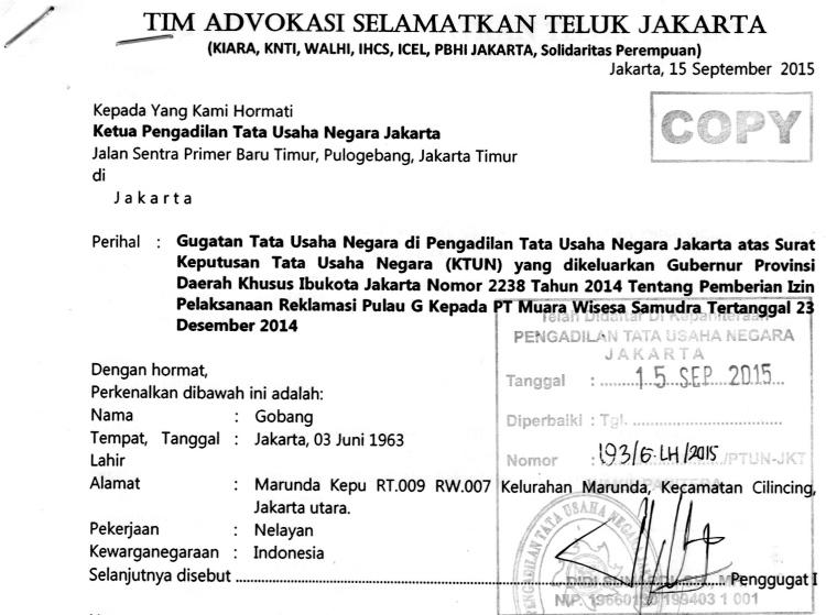 Surat gugatan nelayan dan warga atas izin reklamasi teluk Jakarta (dok. Tim Advokasi Selamatkan Teluk Jakarta)