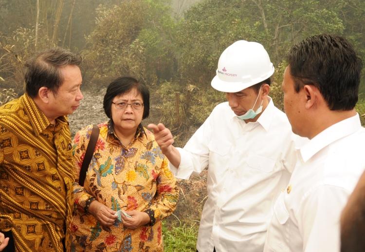 Presiden Jokowi saat meninjau kebakaran hutan di Kabupaten Pulang Pisau, Kalteng. Presiden wajibkan perusahaan membuat embung cegah kebakaran lahan gambut (dok. setkab.go.id)