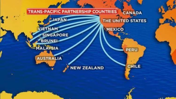 Peta negara-negara anggota Trans Pacific Partnership. Jokowi dinilai khianati konsitusi bergabung di TPP (dok. humanosphere.org)
