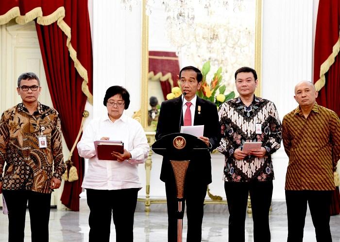Presiden Joko Widodo mengumumkan pembentukan badan restorasi gambut di Istana Negara (dok. setkab.go.id)