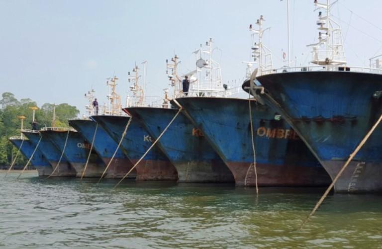 Kapal-kapal asing eks China yang melarikan diri dari Timika, Papua (dok. kkp.go.id)