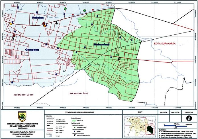 Peta desa di kabupaten Sukoharjo, Jawa Tengah (dok. kartasura.sukoharjokab.go.id)