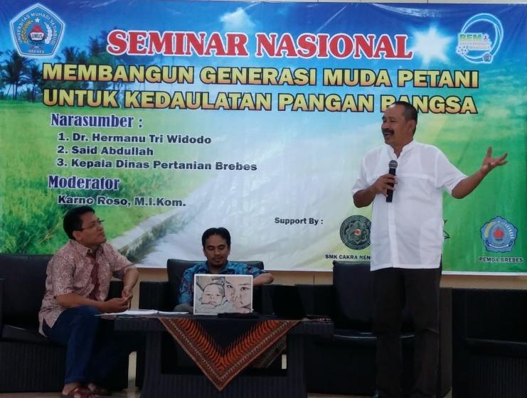 Ketua Gerakan Petani Nusantara Hermanu Triwidodo memberikan pemaparan di acara Seminar Nasional Membangun Regenerasi Petani untuk Mewujudkan Kedaulatan Pangan (dok. gerakan petani nusantara)