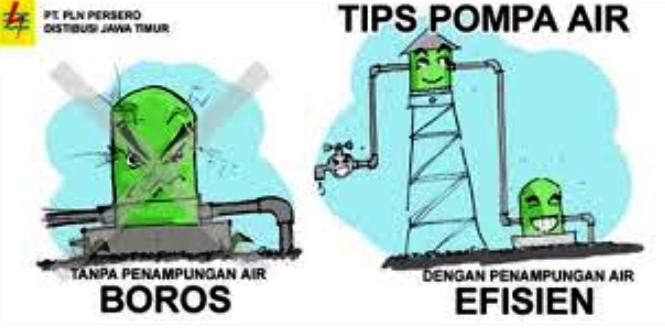 Ilustrasi tips menghemat listrik untuk pompa air (dok. pln-jatim.co.id)