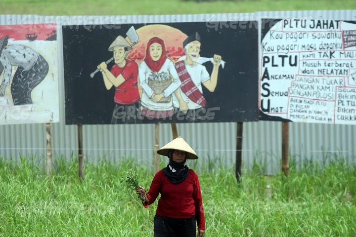 Grafiti berisi aksi penolakan atas pembangunan PLTU Batang (dok. greenpeace)
