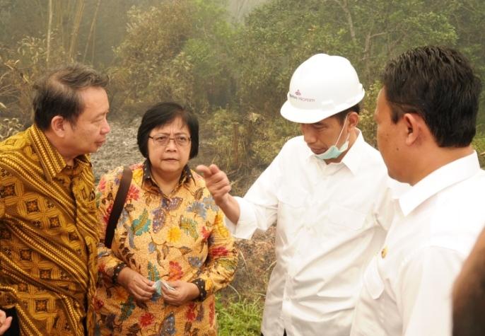 Menteri KLHK Siti Nurbaya saat meninjau pemadaman kebakaran hutan di Kabupaten Pulangpisau, Kalimantan Tengah, bersama Presiden Joko Widodo, tahun lalu (dok. setkab.go.id)