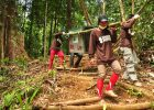 Staf Yayasan Borneo Orangutan Survival membawa orangutan yang siap dilepasliarkan (dok. yayasan bos)