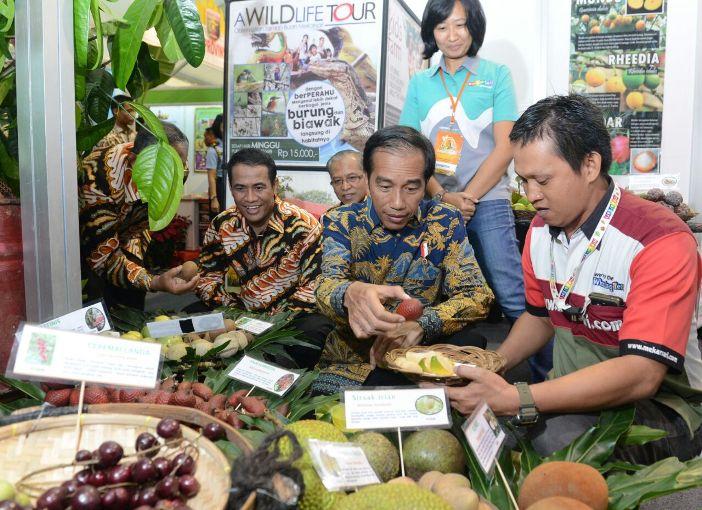 Presiden Joko Widodo di pameran buah nusantara (dok. kementerian dalam negeri)