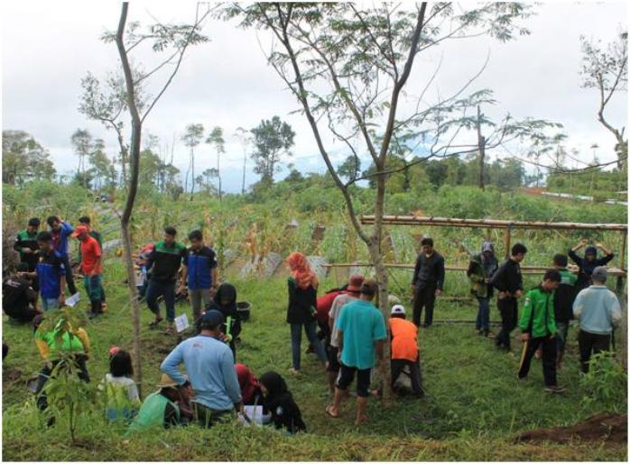 Anggota FKK Himagri Wilayah III Jateng bersama masyarakat melakukan penanaman kakao di lahan milik Dusun Sekayu, Desa Kragilan, Kecamatan Pakis Kabupaten Magelang Jawa Tengah (Tim Jurnalis FKK Himagri Wilayah III Jateng)