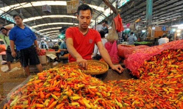 Pedagang cabai rawit merah di pasar tradisional (dok. pemprov jawa barat)