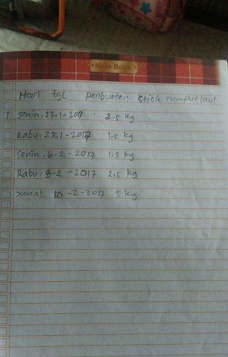 Catatan pesanan makanan olahan rumput laut kelompok Kalaroang (dok. villagerspost.com/suharjo)